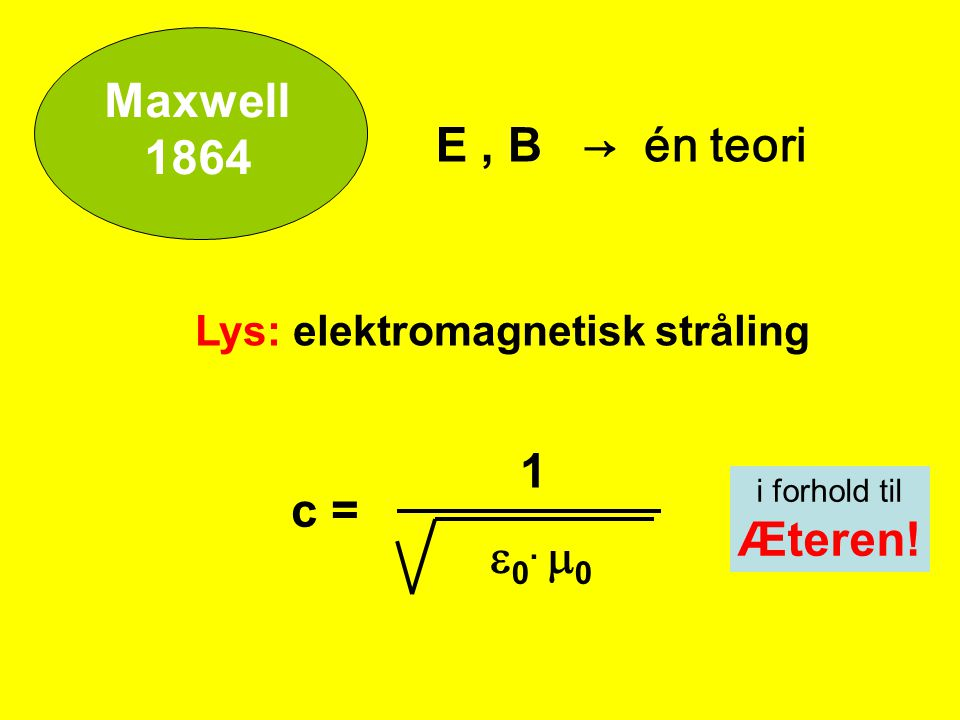 Maxwell 1864 E , B → én teori 1 c = Æteren! e0. m0