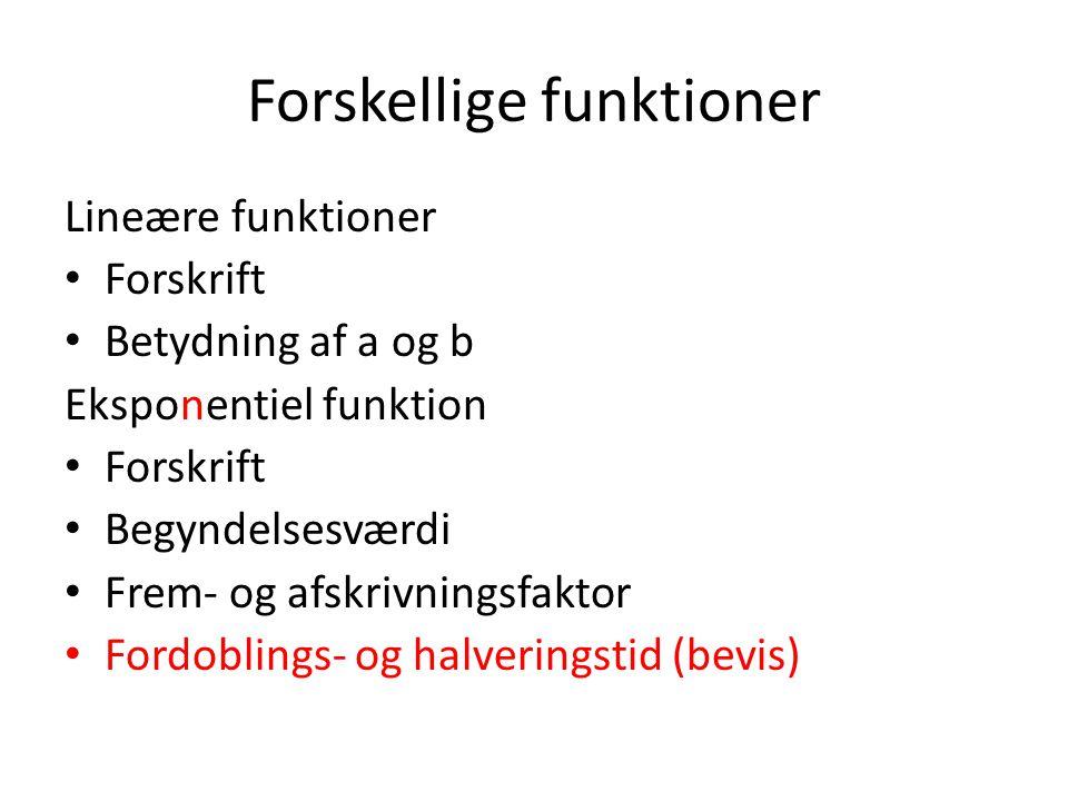 Forskellige funktioner