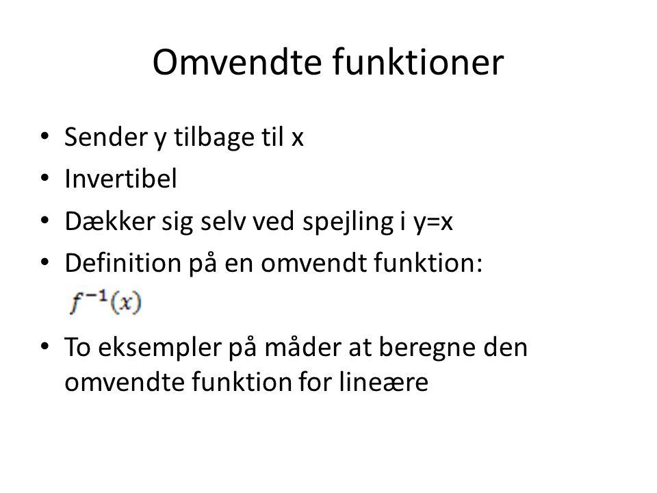 Omvendte funktioner Sender y tilbage til x Invertibel