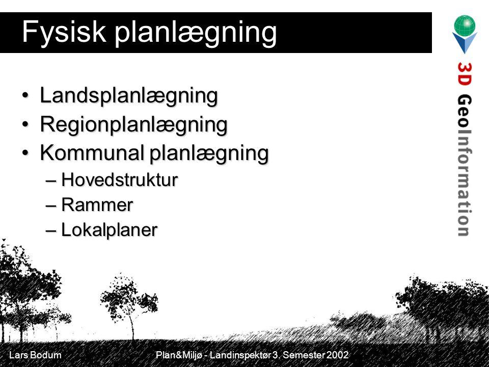 Fysisk planlægning Landsplanlægning Regionplanlægning