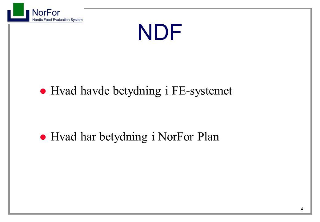 NDF Hvad havde betydning i FE-systemet