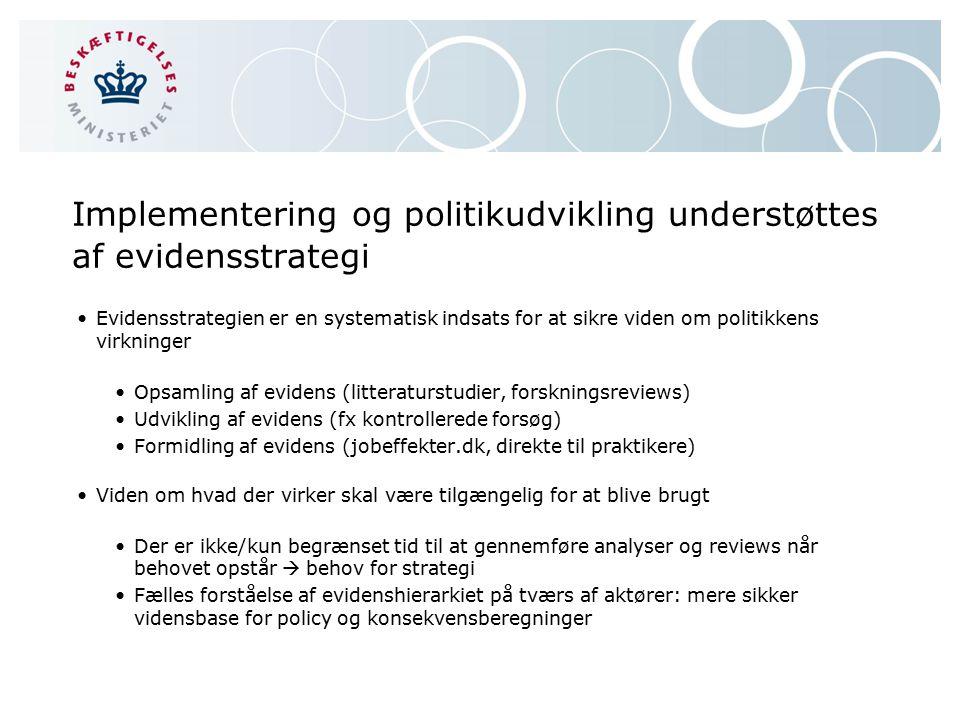 Implementering og politikudvikling understøttes af evidensstrategi