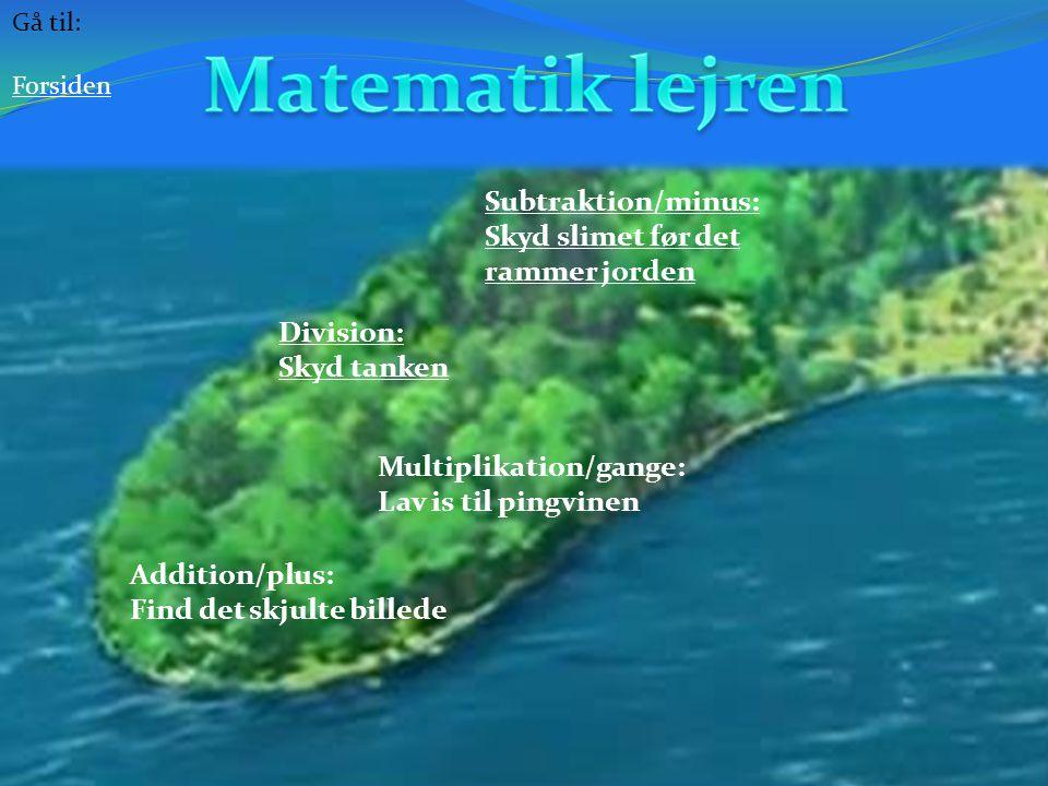 Matematik lejren Subtraktion/minus: Skyd slimet før det rammer jorden