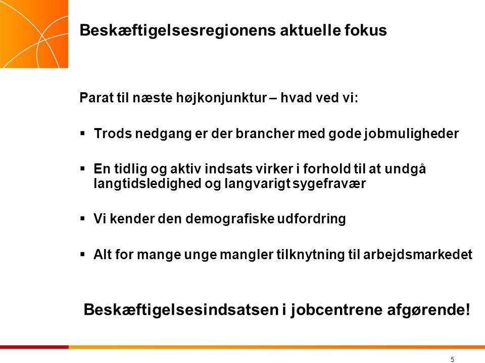 Beskæftigelsesregionens aktuelle fokus