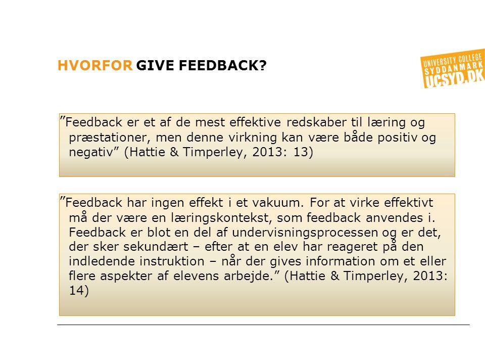 Hvorfor give feedback