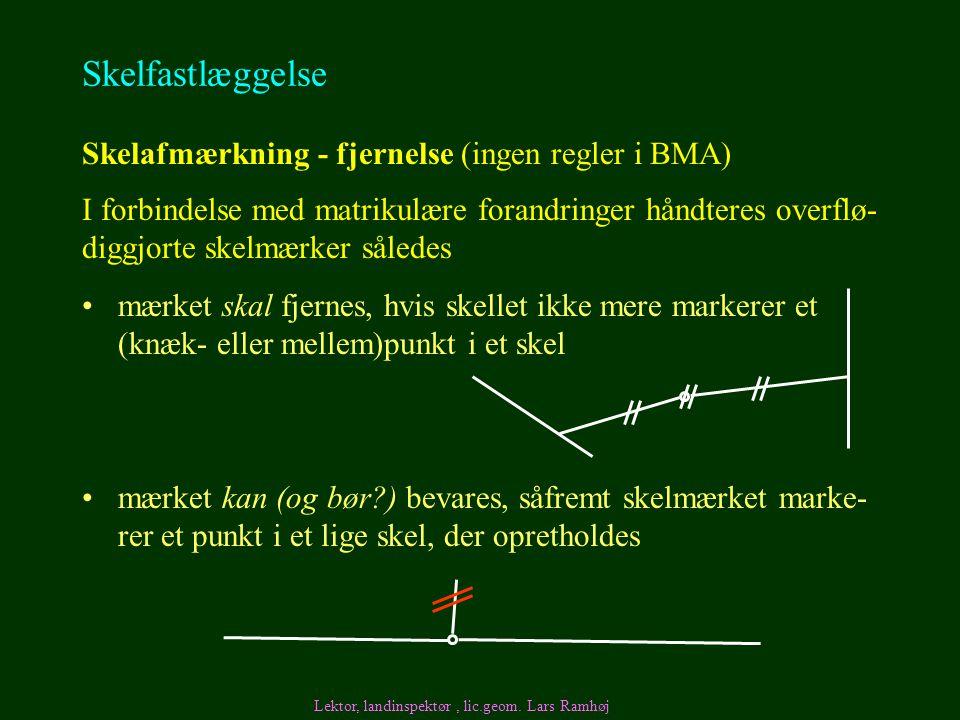 Skelfastlæggelse Skelafmærkning - fjernelse (ingen regler i BMA)