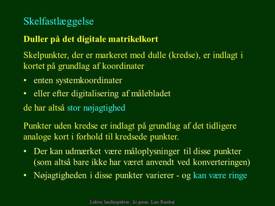 Skelfastlæggelse Duller på det digitale matrikelkort