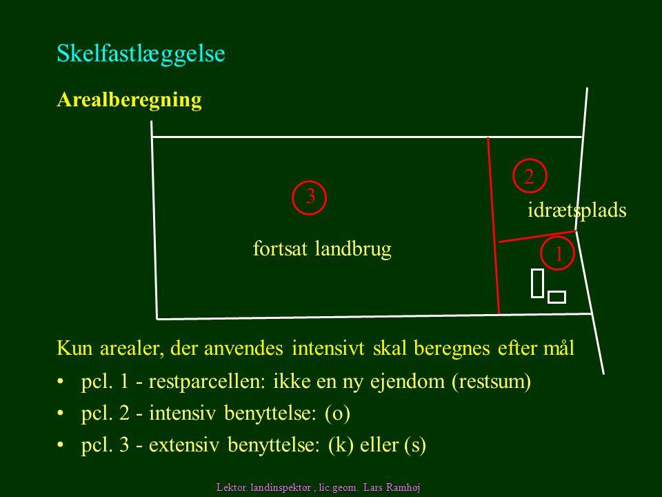 Skelfastlæggelse Arealberegning 2 3 idrætsplads fortsat landbrug 1