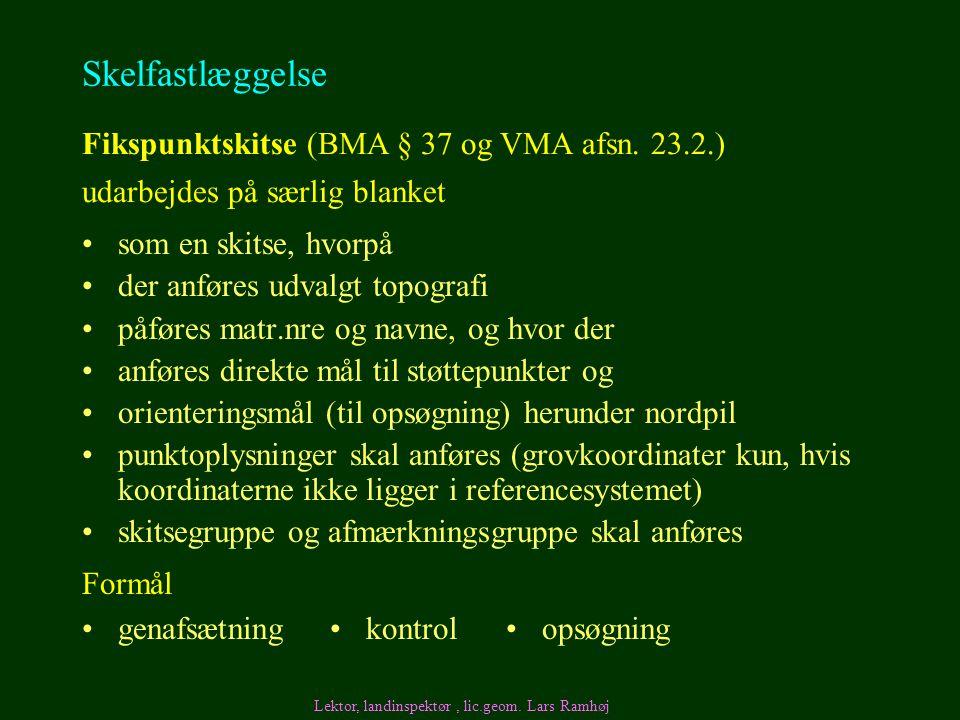 Skelfastlæggelse Fikspunktskitse (BMA § 37 og VMA afsn. 23.2.)