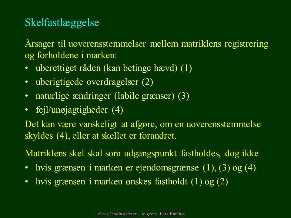 Skelfastlæggelse Årsager til uoverensstemmelser mellem matriklens registrering og forholdene i marken: