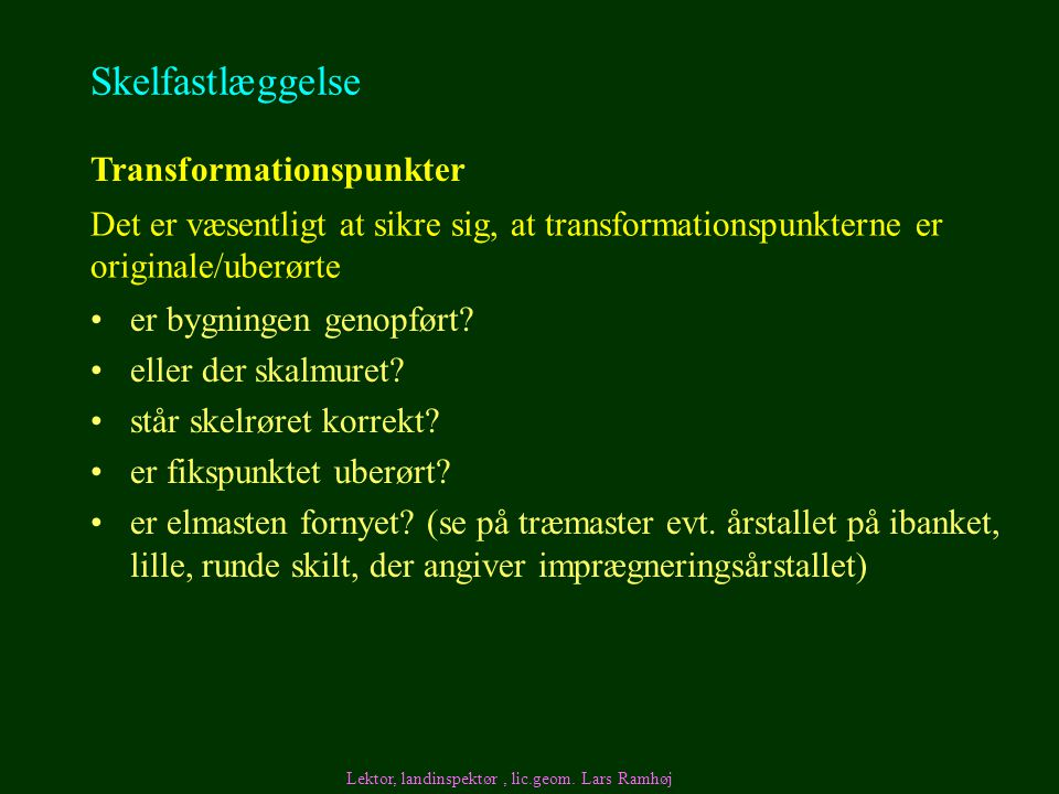 Skelfastlæggelse Transformationspunkter