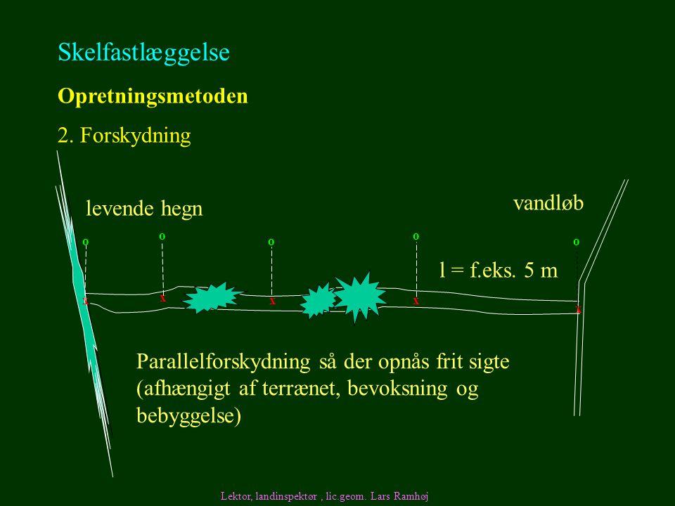 Skelfastlæggelse Opretningsmetoden 2. Forskydning vandløb levende hegn