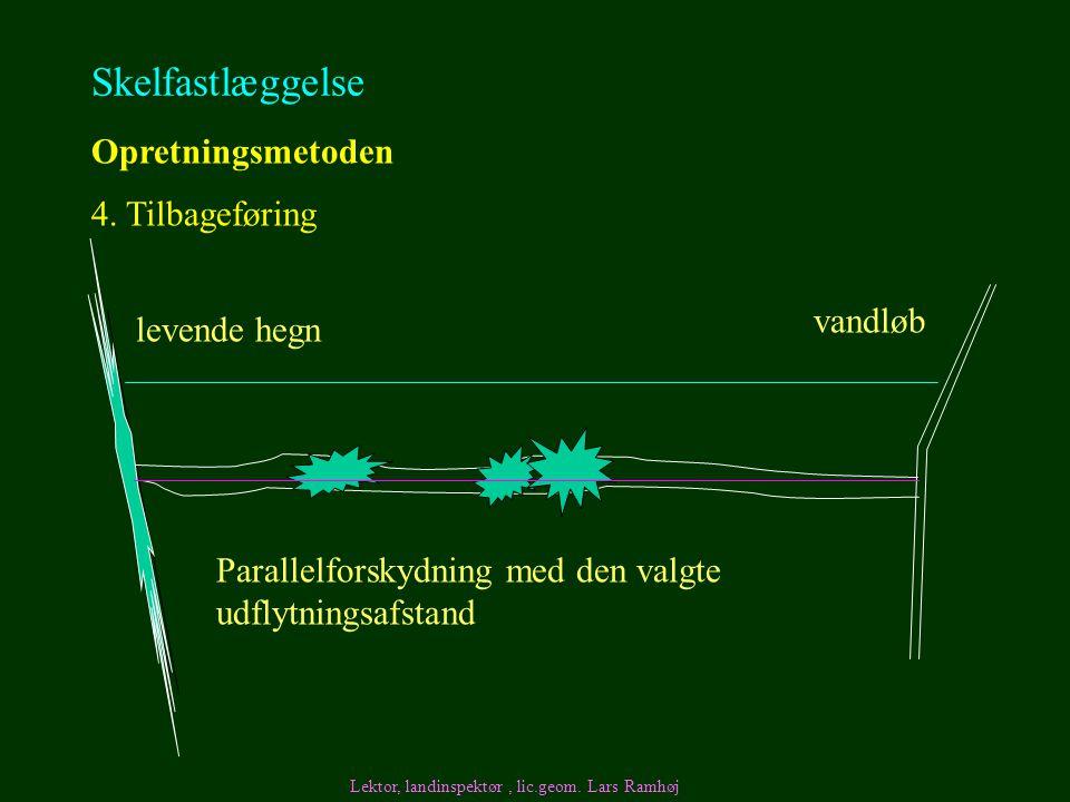 Skelfastlæggelse Opretningsmetoden 4. Tilbageføring vandløb