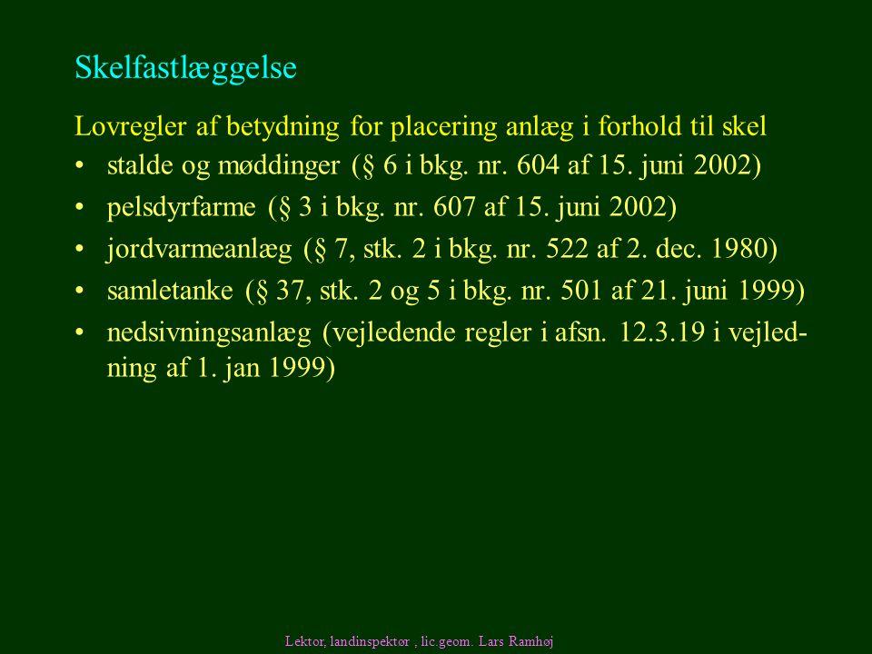 Skelfastlæggelse Lovregler af betydning for placering anlæg i forhold til skel. stalde og møddinger (§ 6 i bkg. nr. 604 af 15. juni 2002)
