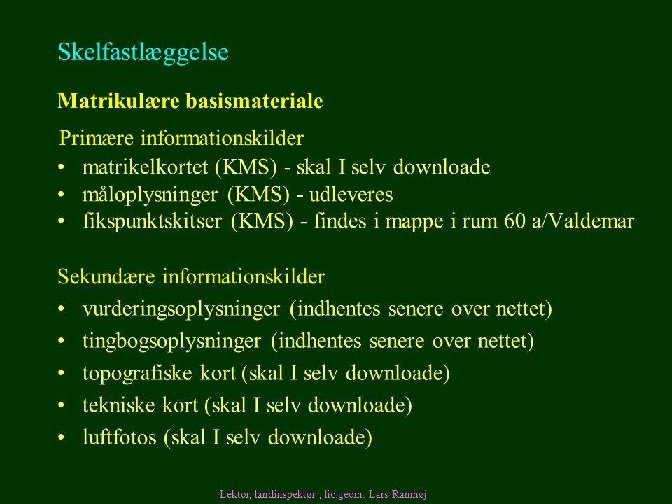 Skelfastlæggelse Matrikulære basismateriale Primære informationskilder