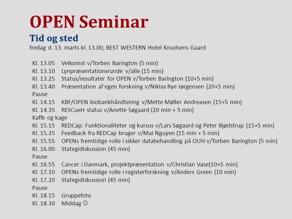 OPEN Seminar Tid og sted