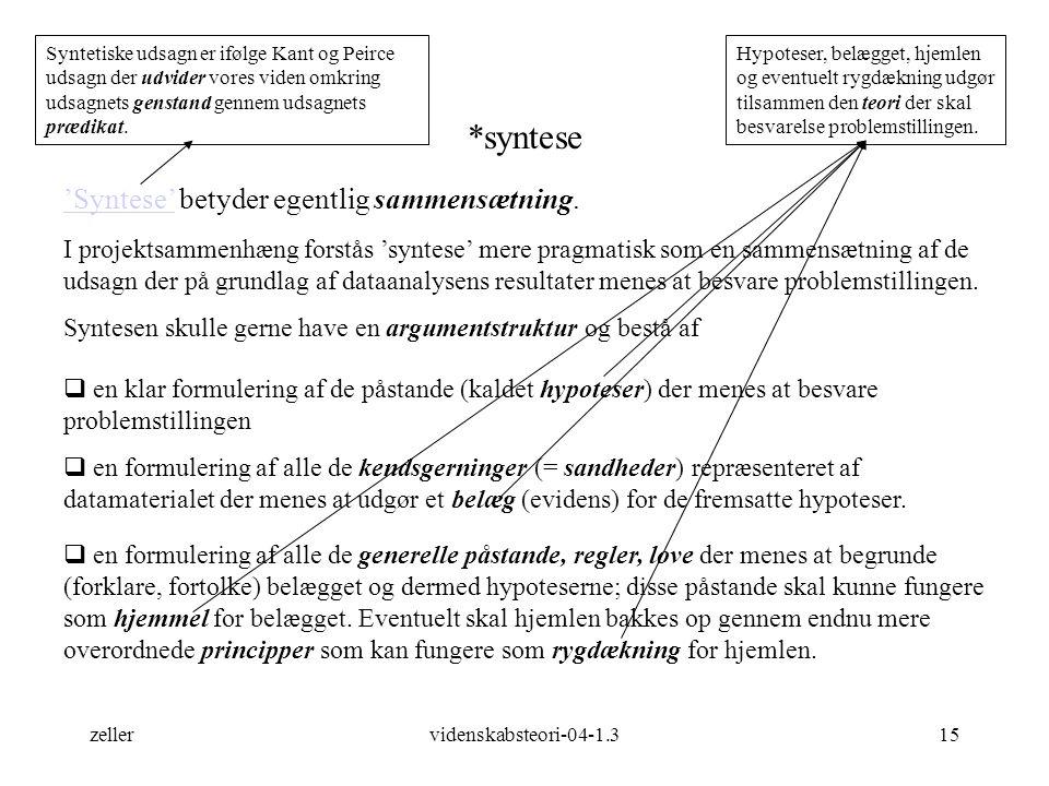 *syntese 'Syntese' betyder egentlig sammensætning.