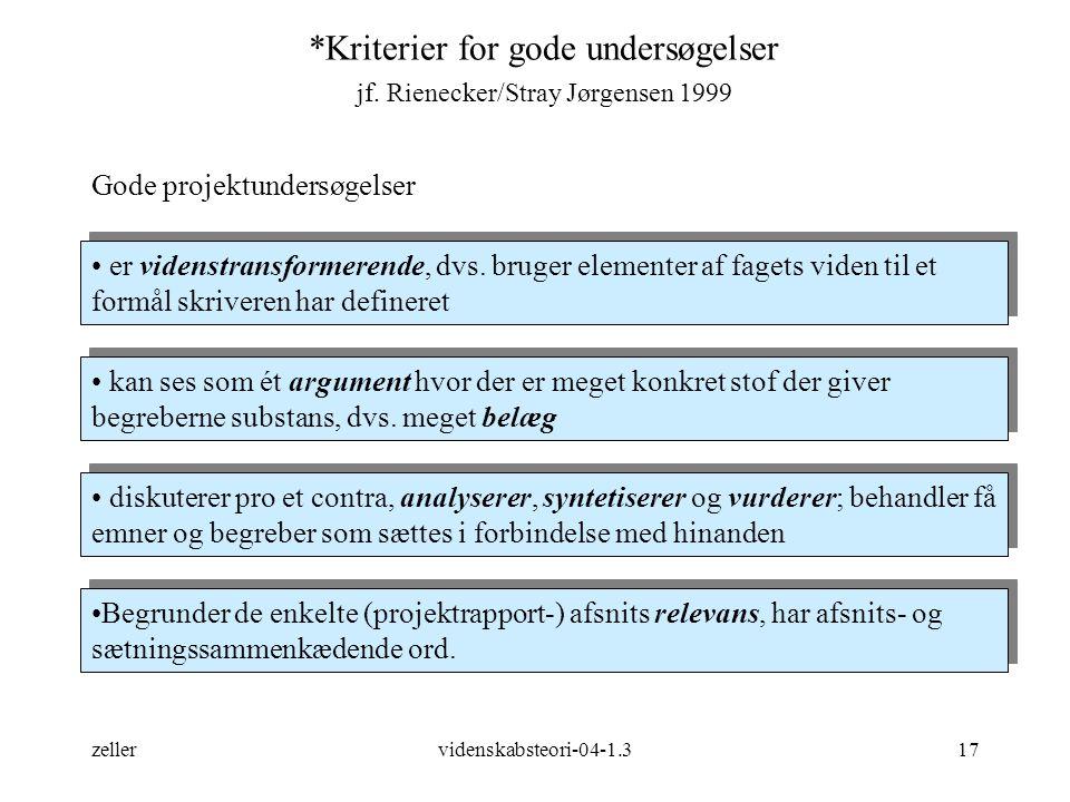 *Kriterier for gode undersøgelser jf. Rienecker/Stray Jørgensen 1999