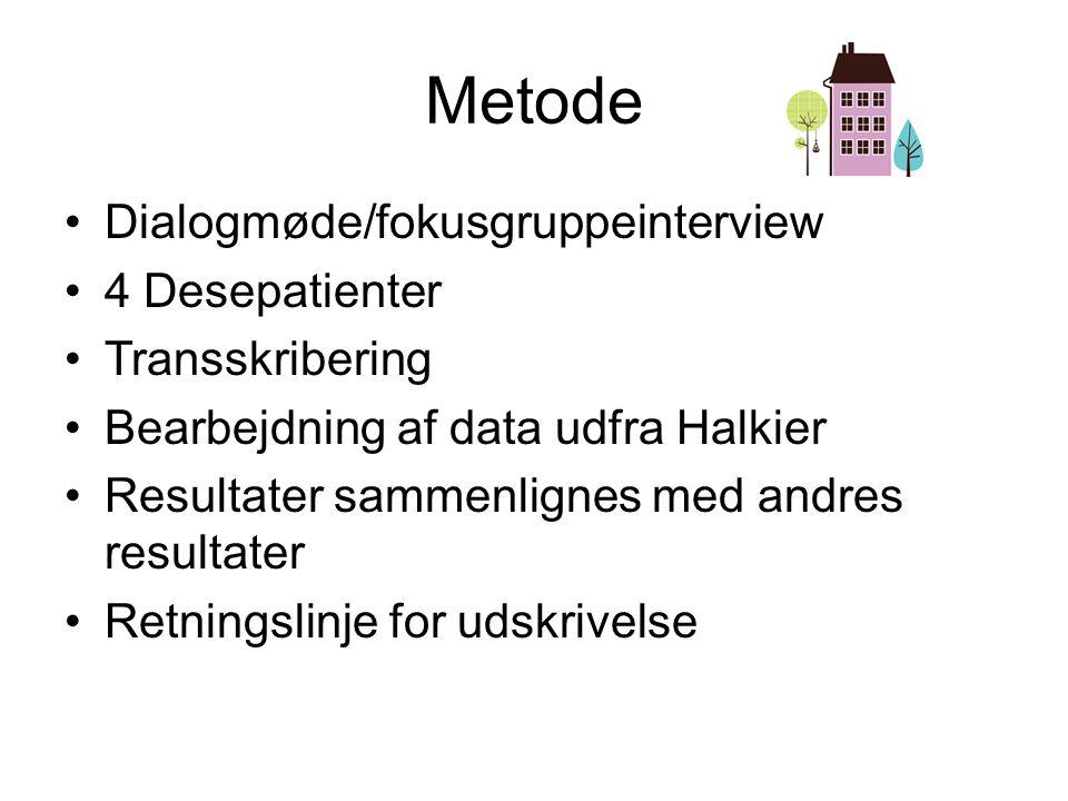 Metode Dialogmøde/fokusgruppeinterview 4 Desepatienter Transskribering