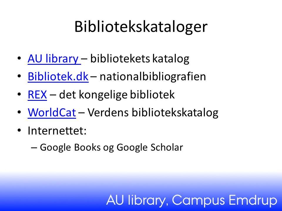 Bibliotekskataloger AU library – bibliotekets katalog