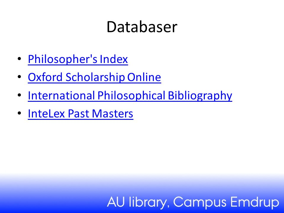 Databaser Philosopher s Index Oxford Scholarship Online