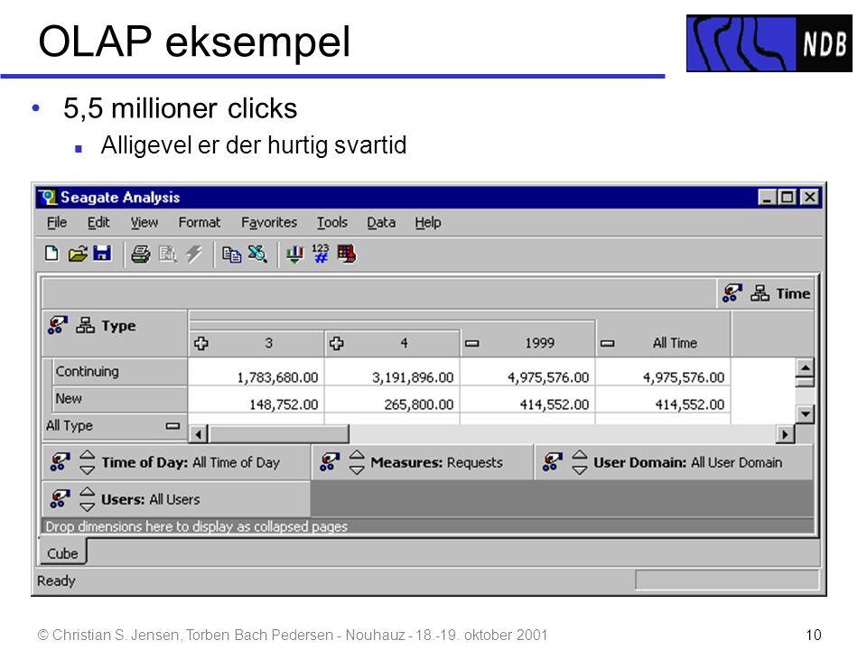 OLAP eksempel 5,5 millioner clicks Alligevel er der hurtig svartid