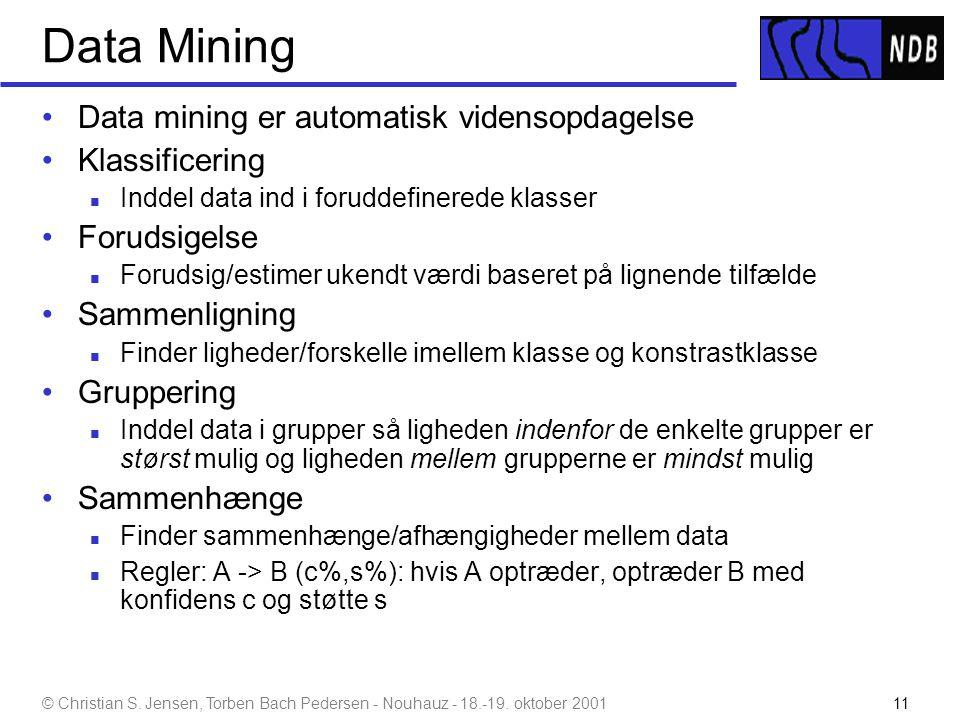 Data Mining Data mining er automatisk vidensopdagelse Klassificering