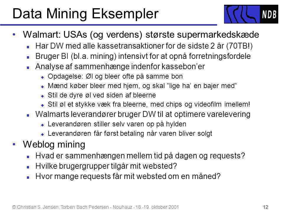 Data Mining Eksempler Walmart: USAs (og verdens) største supermarkedskæde. Har DW med alle kassetransaktioner for de sidste 2 år (70TB!)