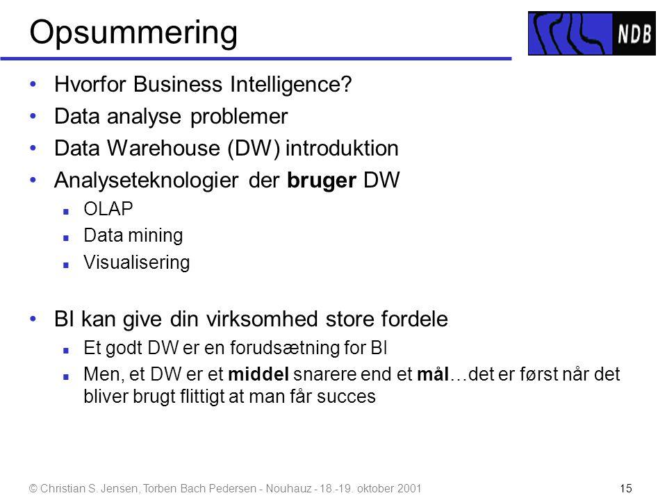 Opsummering Hvorfor Business Intelligence Data analyse problemer