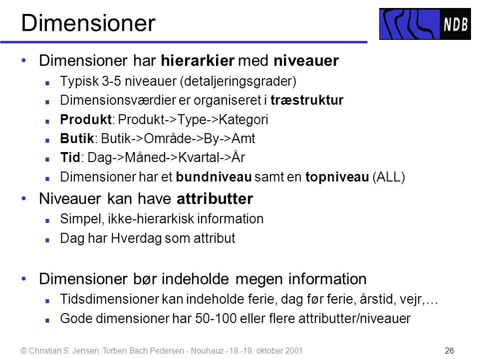 Dimensioner Dimensioner har hierarkier med niveauer