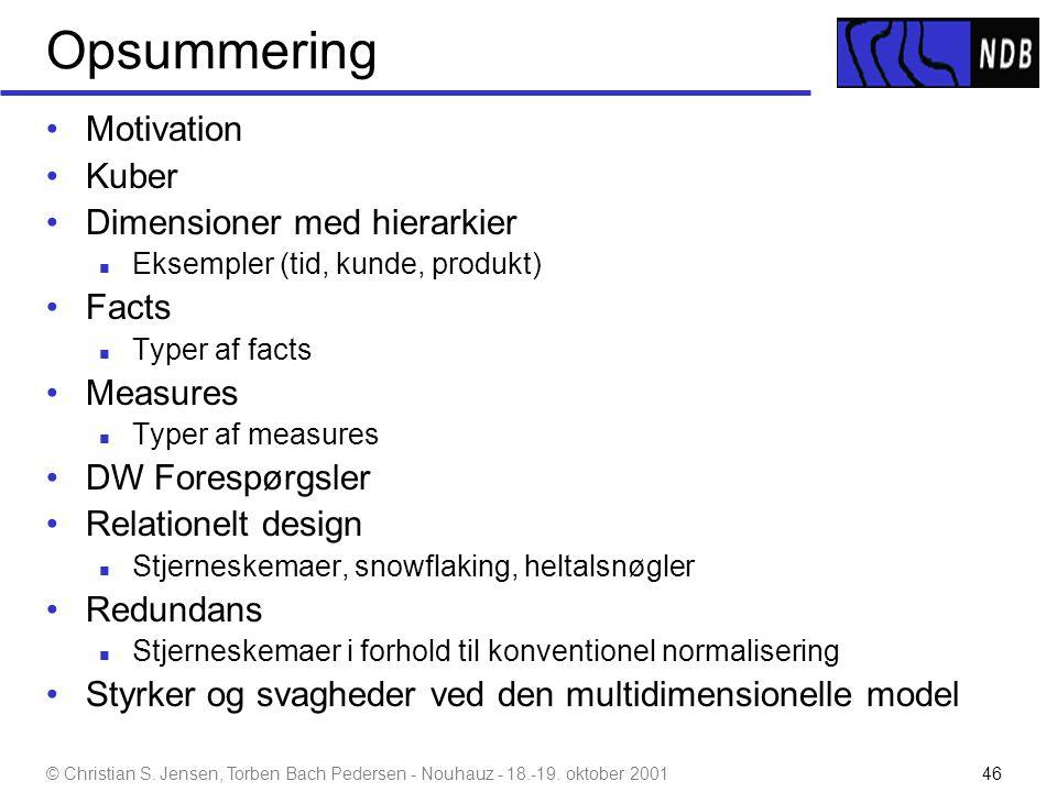 Opsummering Motivation Kuber Dimensioner med hierarkier Facts Measures