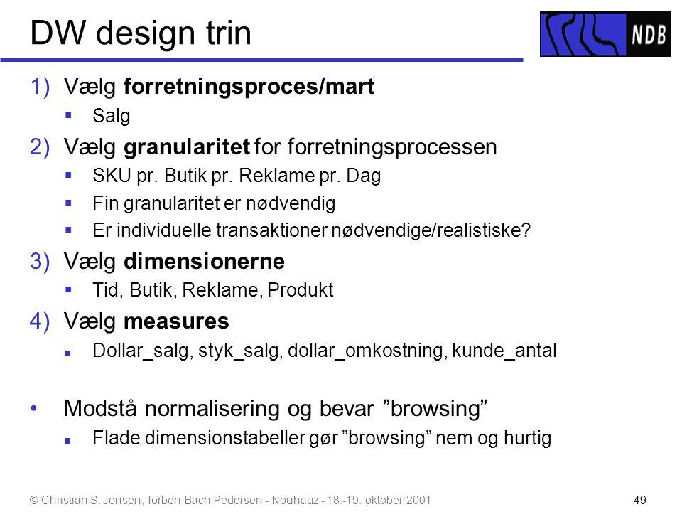 DW design trin Vælg forretningsproces/mart