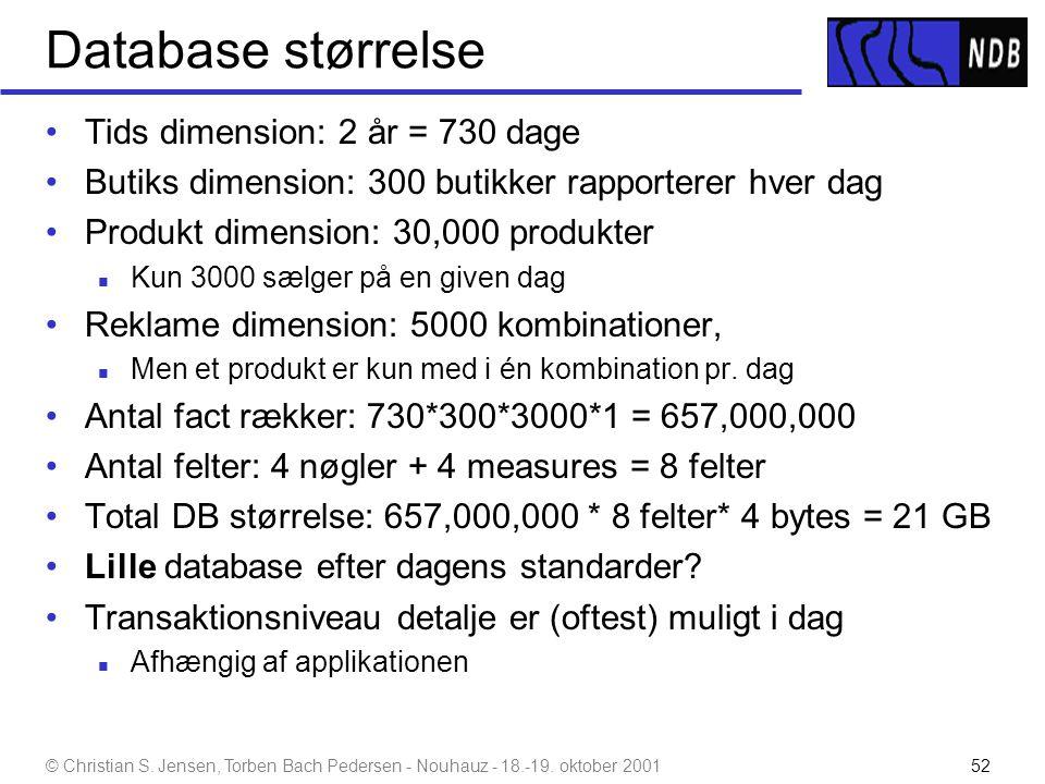 Database størrelse Tids dimension: 2 år = 730 dage
