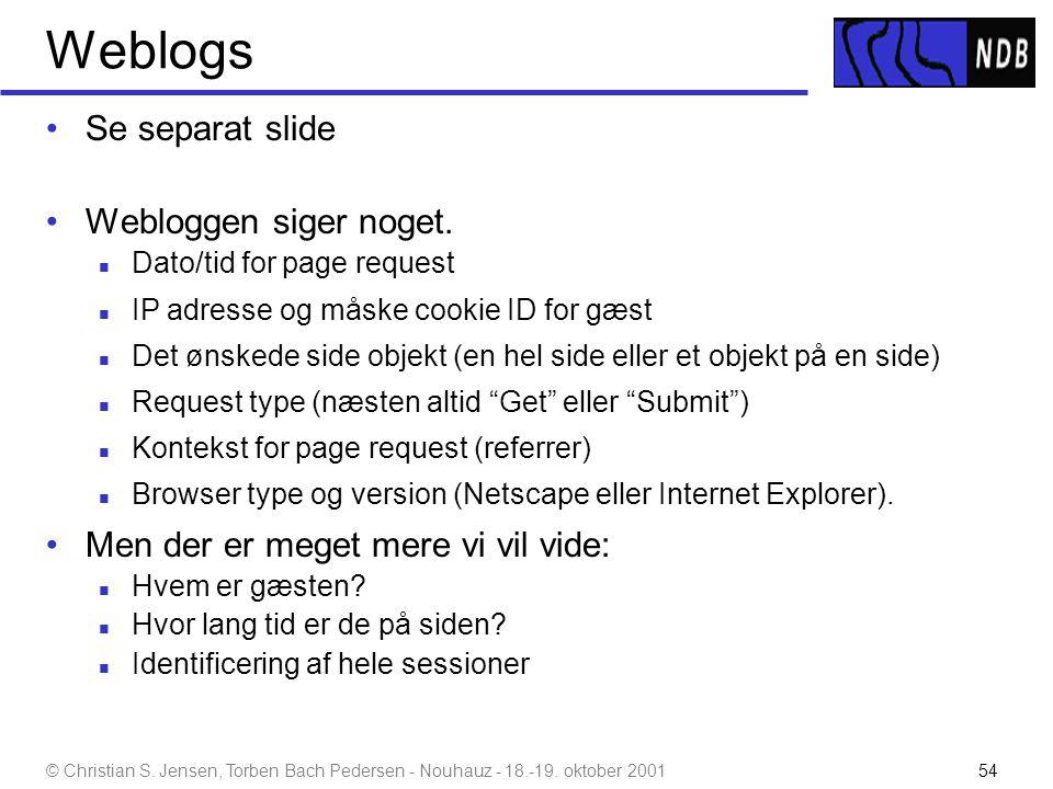 Weblogs Se separat slide Webloggen siger noget.