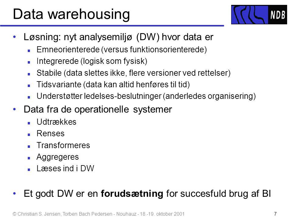 Data warehousing Løsning: nyt analysemiljø (DW) hvor data er