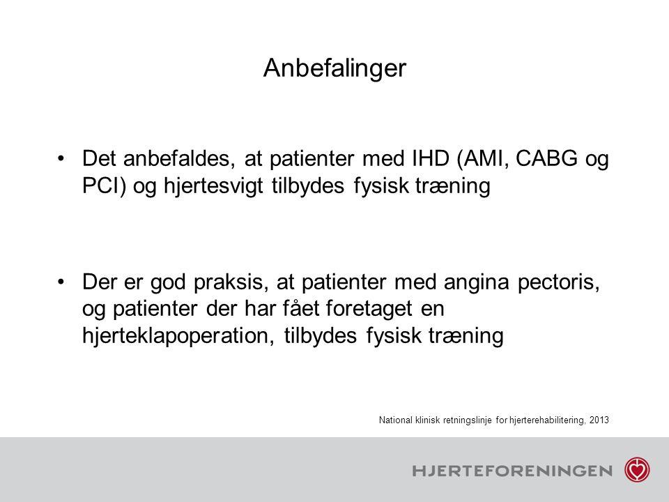Anbefalinger Det anbefaldes, at patienter med IHD (AMI, CABG og PCI) og hjertesvigt tilbydes fysisk træning.