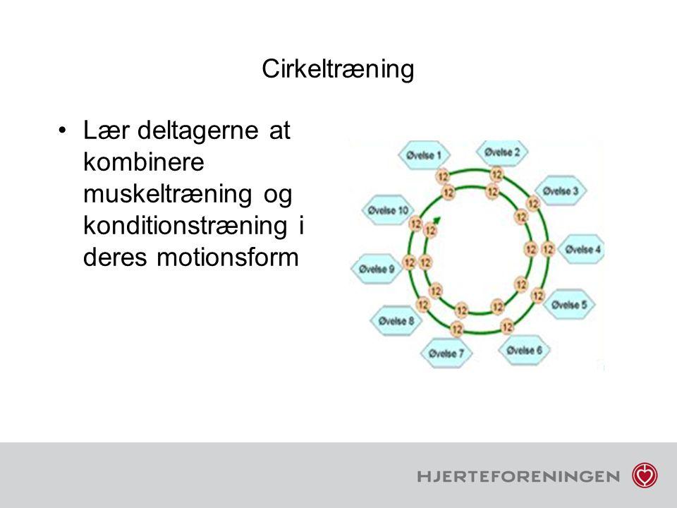 Cirkeltræning Lær deltagerne at kombinere muskeltræning og konditionstræning i deres motionsform