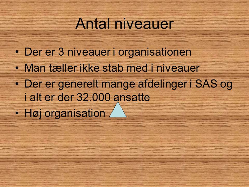 Antal niveauer Der er 3 niveauer i organisationen