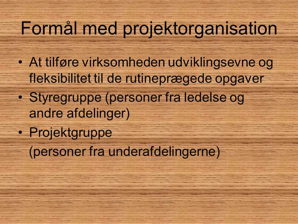 Formål med projektorganisation