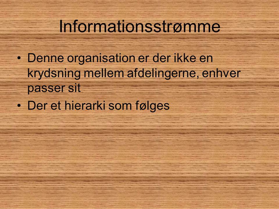 Informationsstrømme Denne organisation er der ikke en krydsning mellem afdelingerne, enhver passer sit.