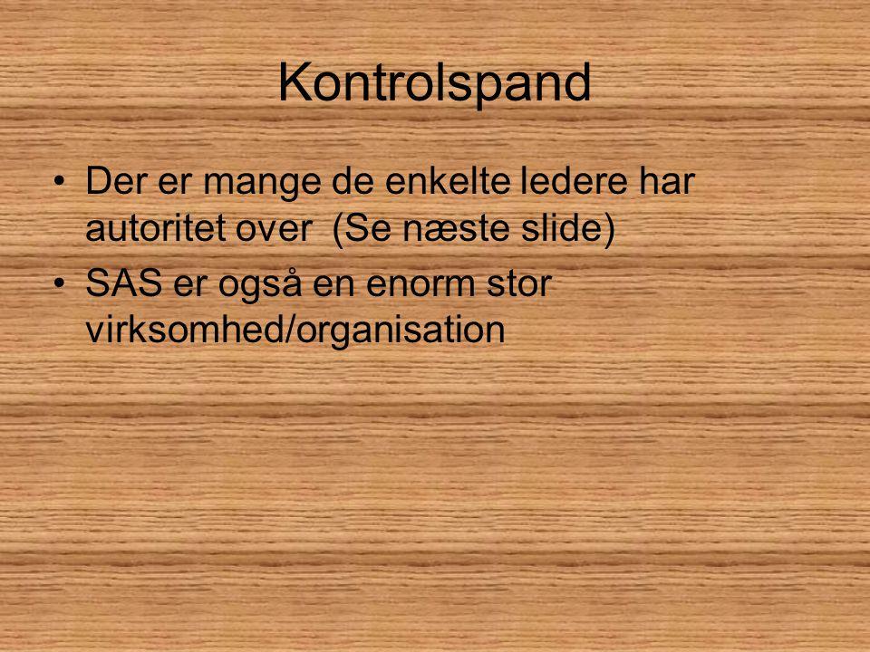 Kontrolspand Der er mange de enkelte ledere har autoritet over (Se næste slide) SAS er også en enorm stor virksomhed/organisation.