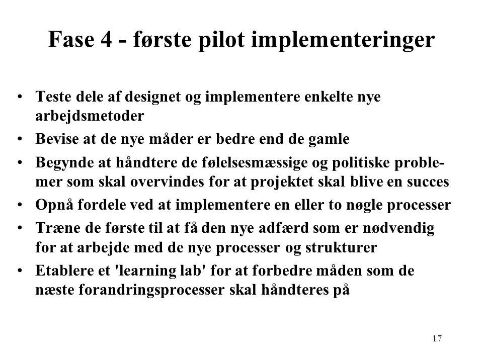 Fase 4 - første pilot implementeringer