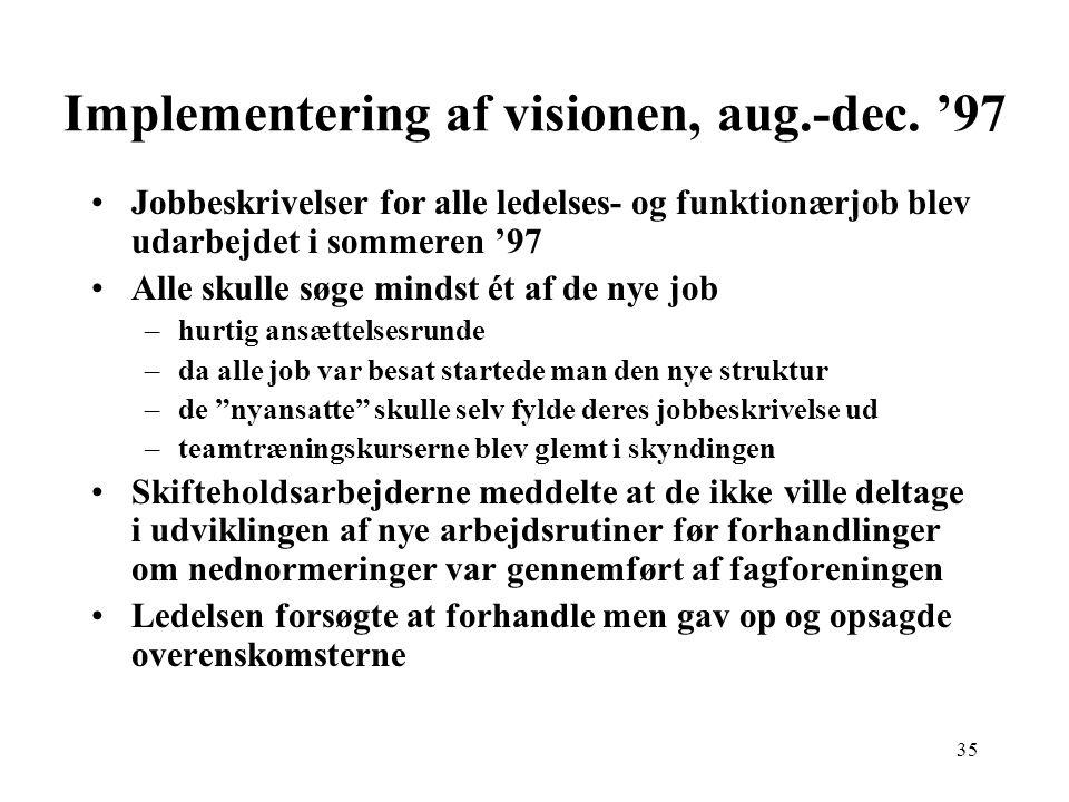 Implementering af visionen, aug.-dec. '97