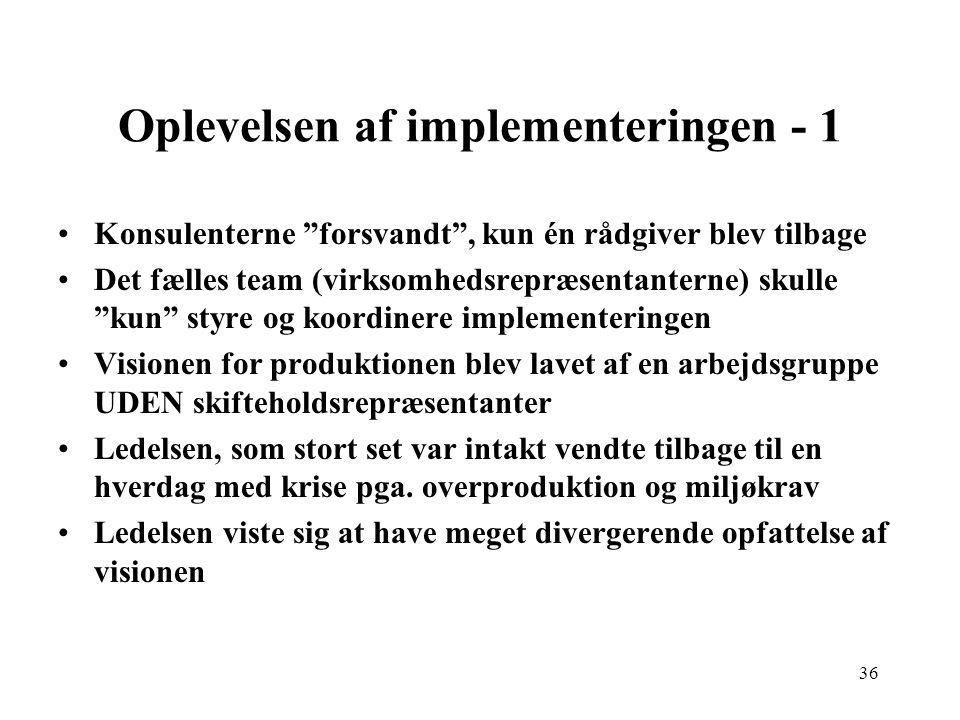Oplevelsen af implementeringen - 1