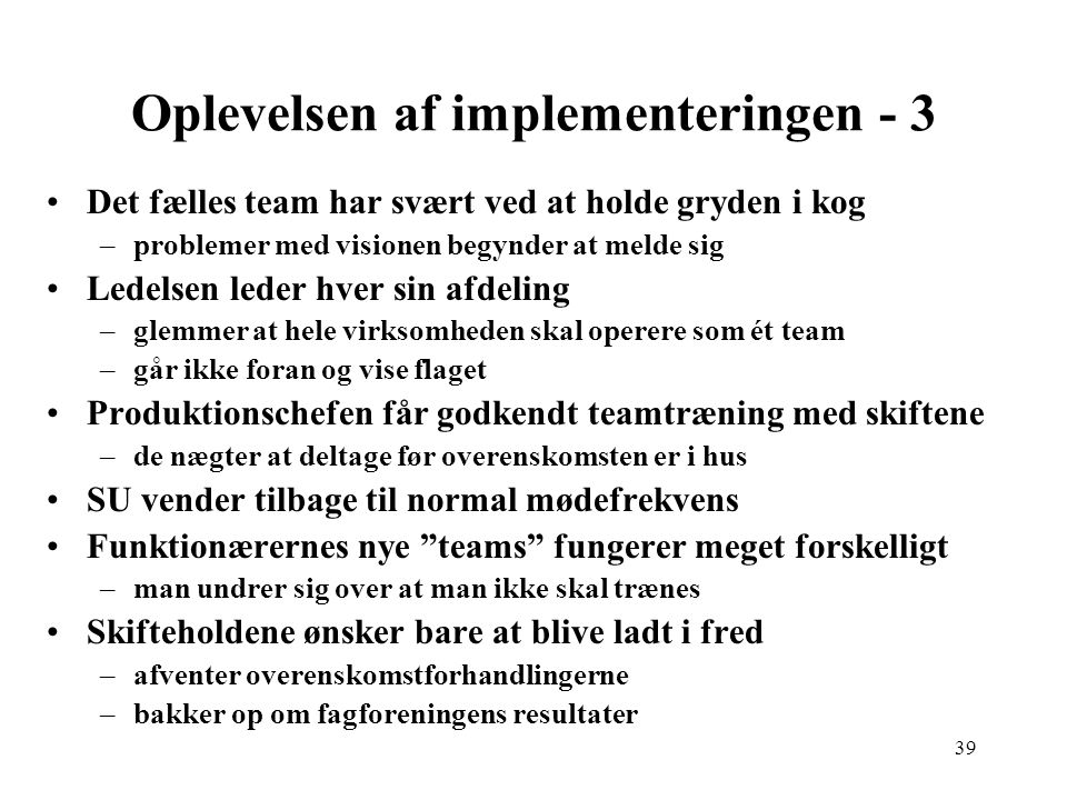 Oplevelsen af implementeringen - 3
