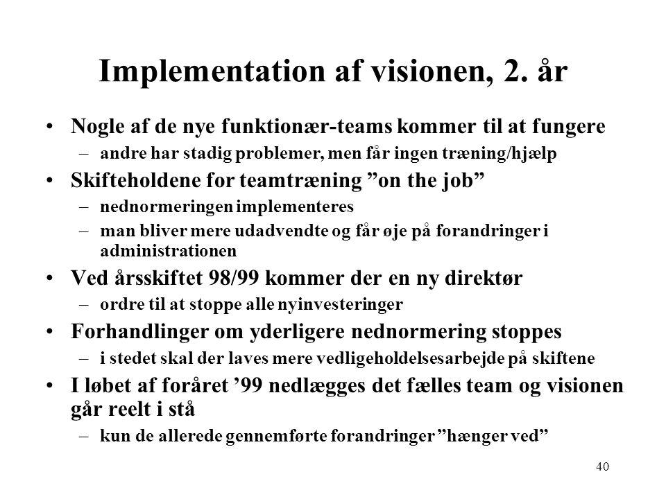 Implementation af visionen, 2. år