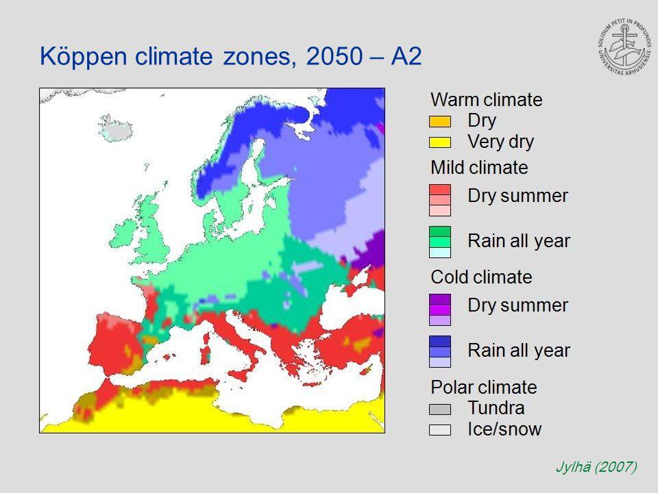Köppen climate zones, 2050 – A2