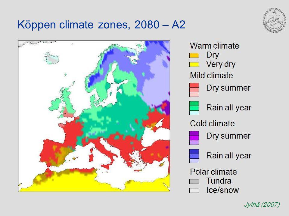 Köppen climate zones, 2080 – A2