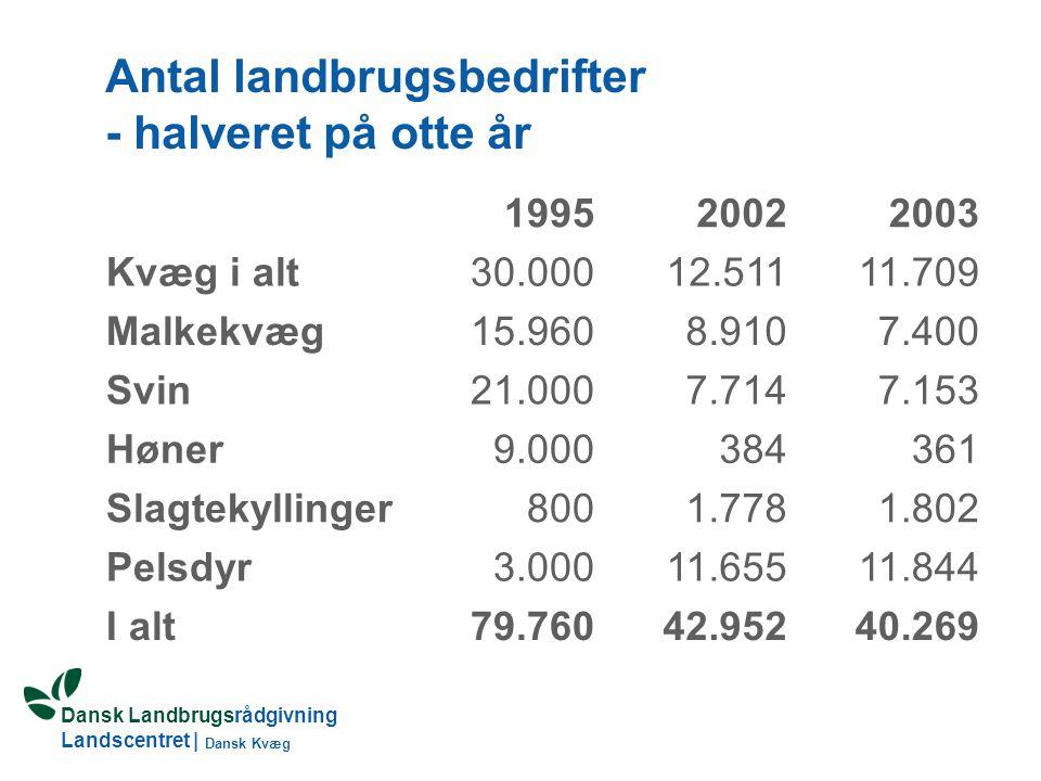 Antal landbrugsbedrifter - halveret på otte år