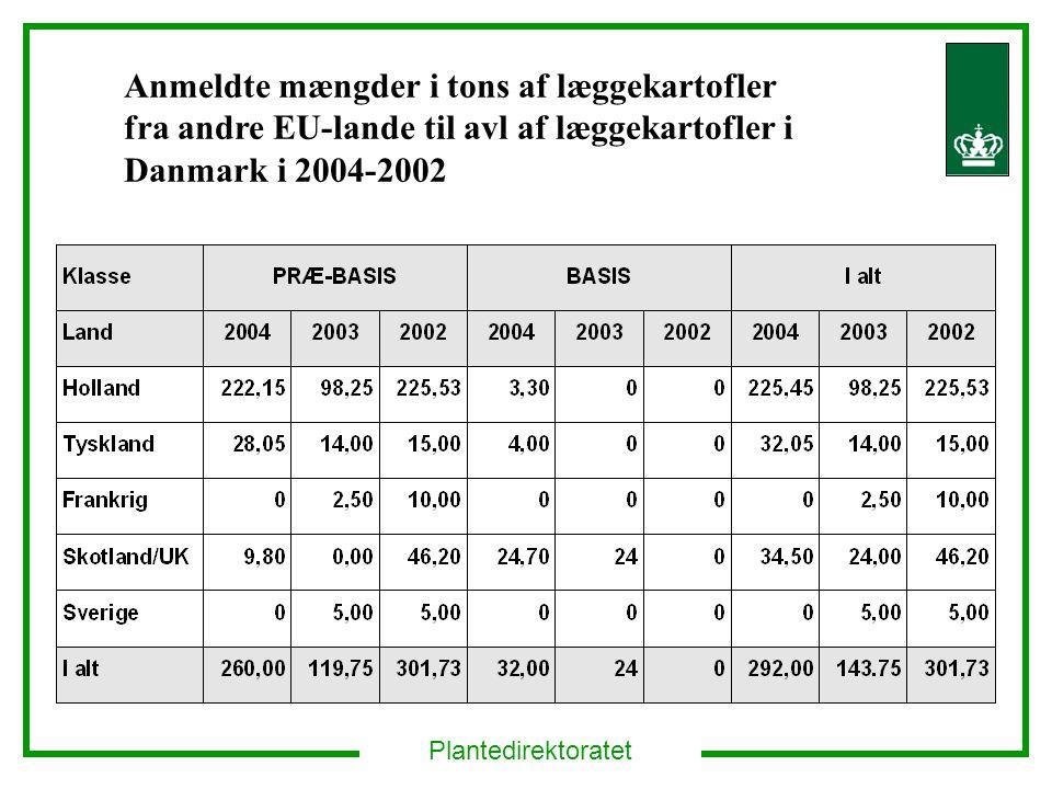 Anmeldte mængder i tons af læggekartofler